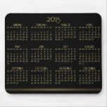 Black And Gold Yearly Calendar 2015 On Mousepad