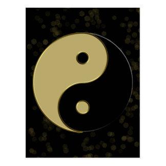 black and gold yin yang postcard