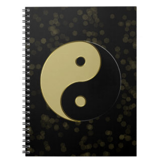 black and gold yin yang spiral notebook