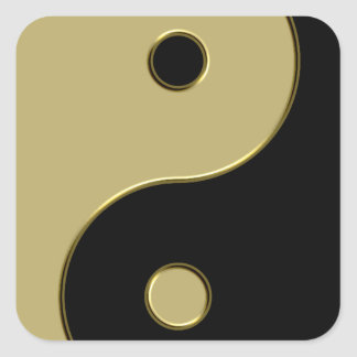 black and gold yin yang square sticker
