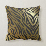 Black and Gold Zebra Pattern Throw Pillow