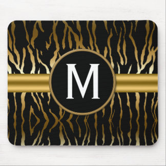 Black and Gold Zebra Stripe with Monogram Mouse Pad