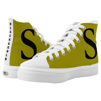 Black And Gold Zip Sneakers Shoes by creativeconceptss at Zazzle
