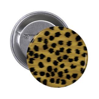 Black and Golden Brown Cheetah Print Pattern. 2 Inch Round Button