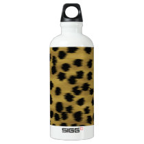 Black and Golden Brown Cheetah Print Pattern. Aluminum Water Bottle