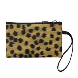 Black and Golden Brown Cheetah Print Pattern. Coin Purse