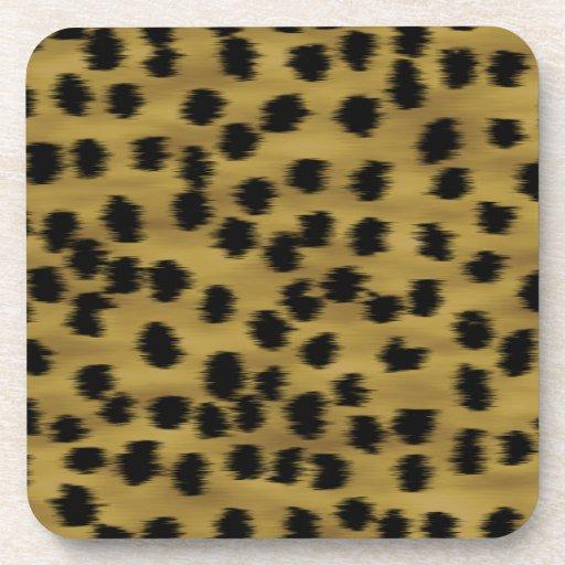 Black and Golden Brown Cheetah Print Pattern. Coasters