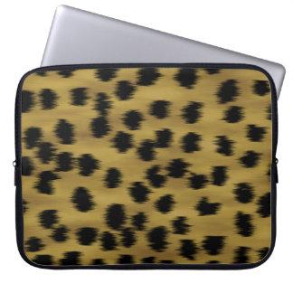Black and Golden Brown Cheetah Print Pattern. Laptop Sleeve