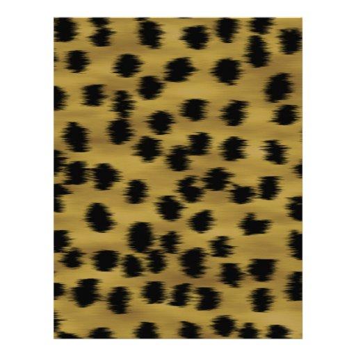 Black and Golden Brown Cheetah Print Pattern. Letterhead