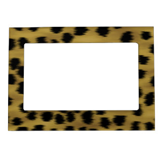 Black and Golden Brown Cheetah Print Pattern. Magnetic Frame