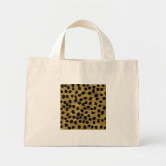 Black and Golden Brown Cheetah Print Pattern. Mini Tote Bag