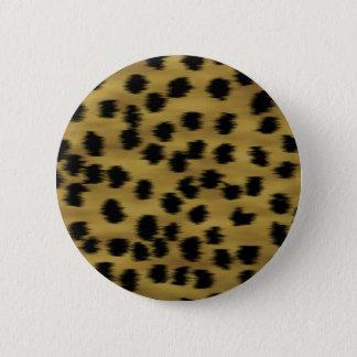 Black and Golden Brown Cheetah Print Pattern. Pinback Button