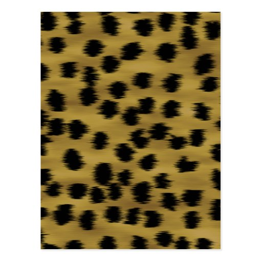 Black and Golden Brown Cheetah Print Pattern. Post Cards