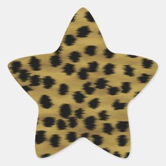 Black and Golden Brown Cheetah Print Pattern. Star Sticker