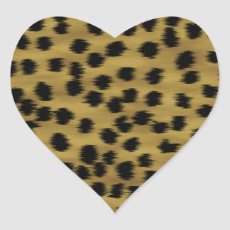 Black and Golden Brown Cheetah Print Pattern Heart Stickers