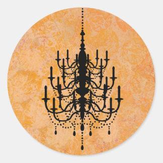 Black and Golden Chandelier Wedding Seal Classic Round Sticker