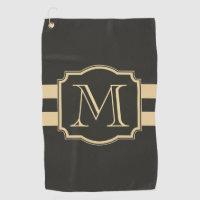 Black and Golden Monogram Golf Towel