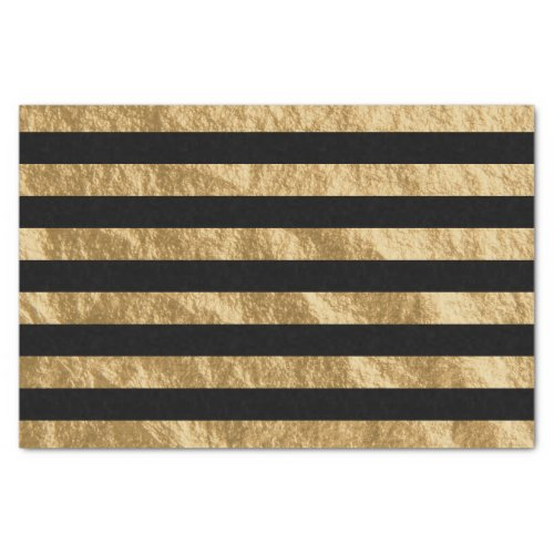 Black and Golden Stripe Foil Look Tissue Paper