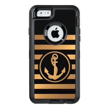 Black and Golden Stripes With Anchor OtterBox Defender iPhone Case
