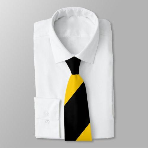 Black and Golden Yellow Broad Regimental Stripe Neck Tie