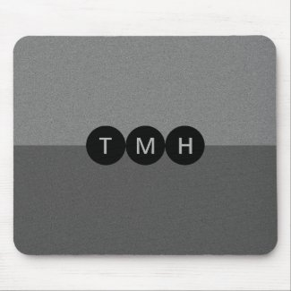 Black and Gray Abstract Monogram Mouse Pad