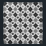 """Black and Gray Argyle Paw Print Pattern Bandana<br><div class=""""desc"""">Show off your love of animals with this awesome paw print themed bandana. This item displays a black and gray argyle paw print pattern. Maybe you&#39;re searching for a special gift for an animal lover in your life? This product is a great gift for cat owners, dog owners, veterinarians, vet...</div>"""