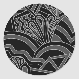 Black and Gray Art Deco Design. Classic Round Sticker