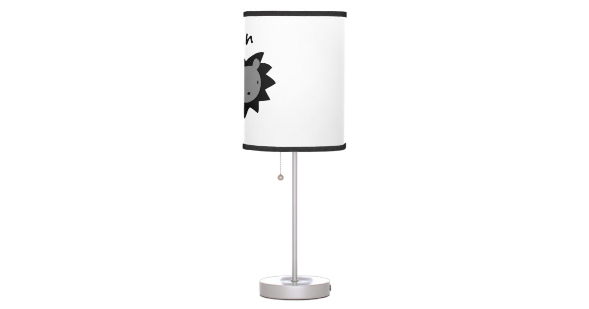 Black And Gray Baby Lion Nursery Table Lamp
