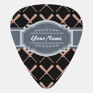 Black and Gray Baseball Bat Pattern Personalized Guitar Pick