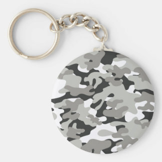 Black and Gray Camo Design Basic Round Button Keychain