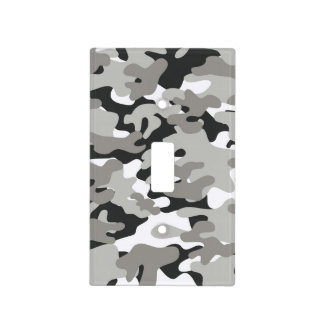Black and Gray Camo Design Light Switch Cover