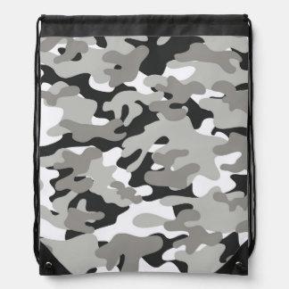 Black and Gray Camo Drawstring Backpack
