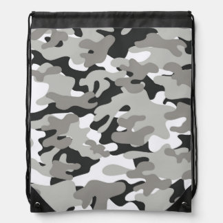 Black and Gray Camo Cinch Bags