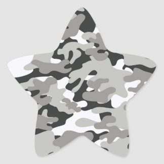 Black and Gray Camo Star Sticker