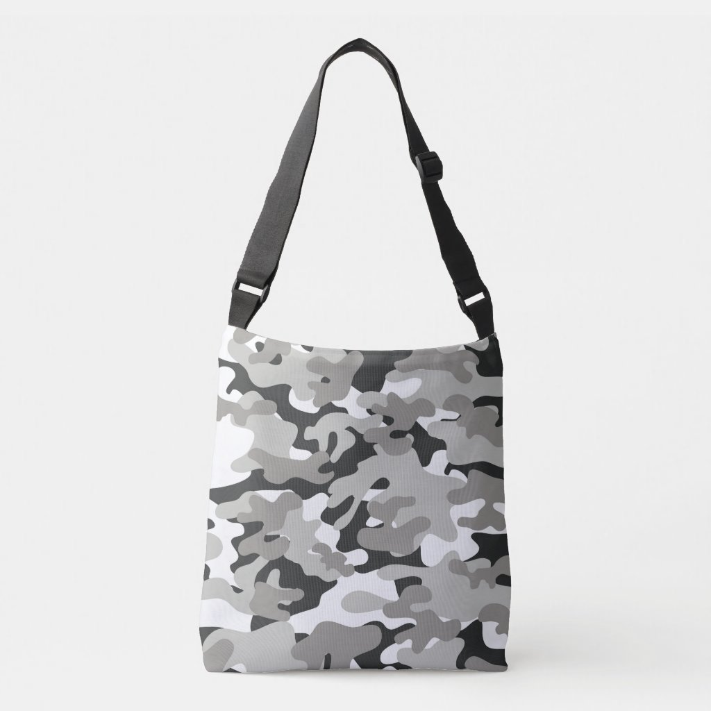 Black and Gray Camouflage Cross Body Bag