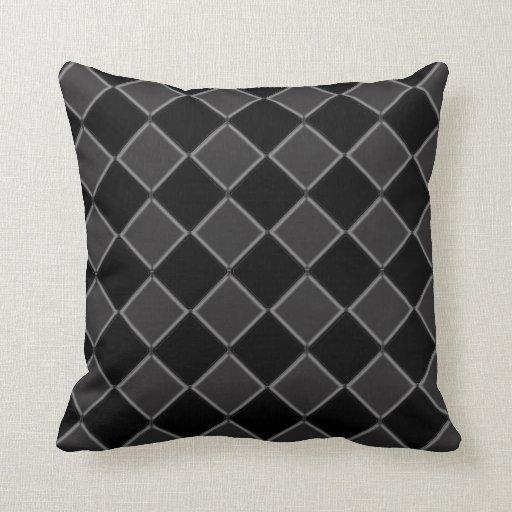 Decorative Pillows Black And Grey : Black and Gray Checkered Decorative Pillow Zazzle
