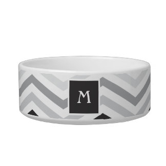 Black and Gray Chevron  | Monogram Cat Dish