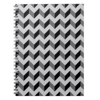 Black and Gray Chevron Pattern Background Notebook