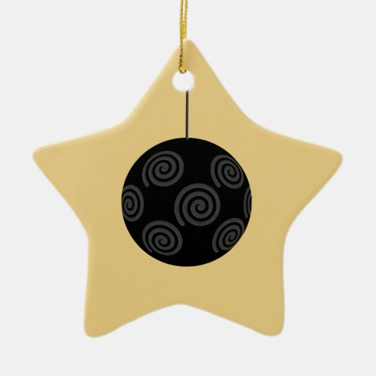 Black and Gray Christmas Bauble on Gold. Ceramic Ornament