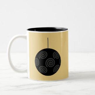 Black and Gray Christmas Bauble on Gold. Coffee Mug
