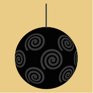 Black and Gray Christmas Bauble on Gold. Photo Cut Out