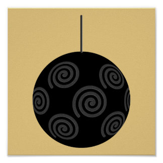 Black and Gray Christmas Bauble on Gold. Poster