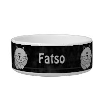 Black and Gray Cute Fat Cat Personalized Pet Bowl