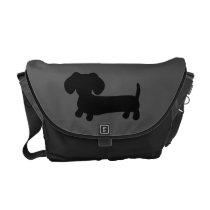 Black and Gray Dachshund Messenger Computer Bag
