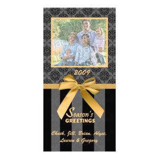 Black And Gray Damask Gold Ribbon Photo Card