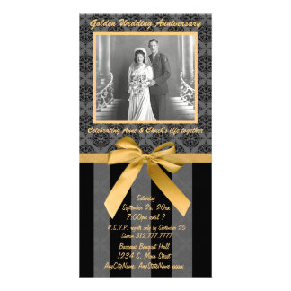 Black And Gray Damask Golden Anniversary Card