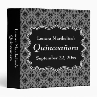 Black and Gray Damask Pattern Quinceanera 3 Ring Binder