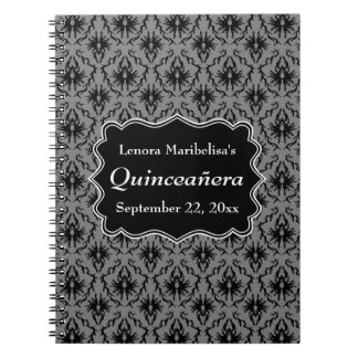 Black and Gray Damask Pattern Quinceanera Notebook