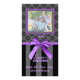 Black And Gray Damask Purple Ribbon Photo Card