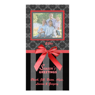 Black And Gray Damask Red Ribbon Photo Card